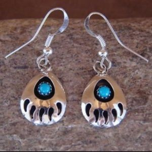 Navajo Indian 925 Turquoise Bear Paw Earrings